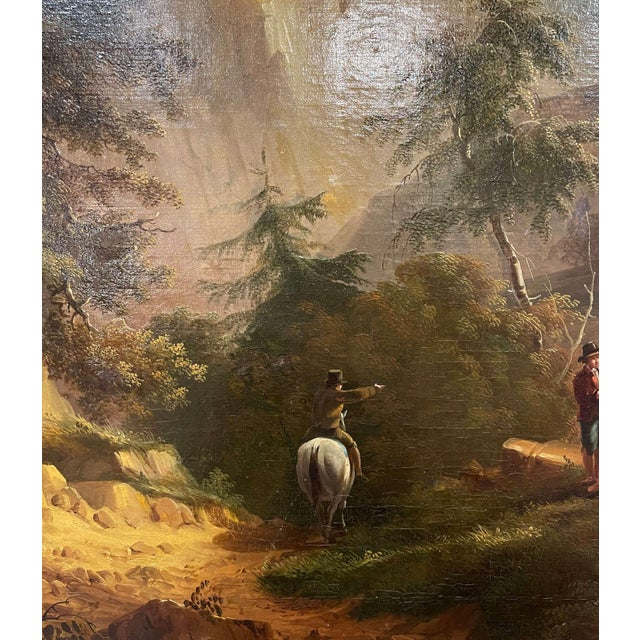 19th Century French Oil on Canvas Pastoral Painting in Carved Gilt Frame Signed For Sale - Image 9 of 13