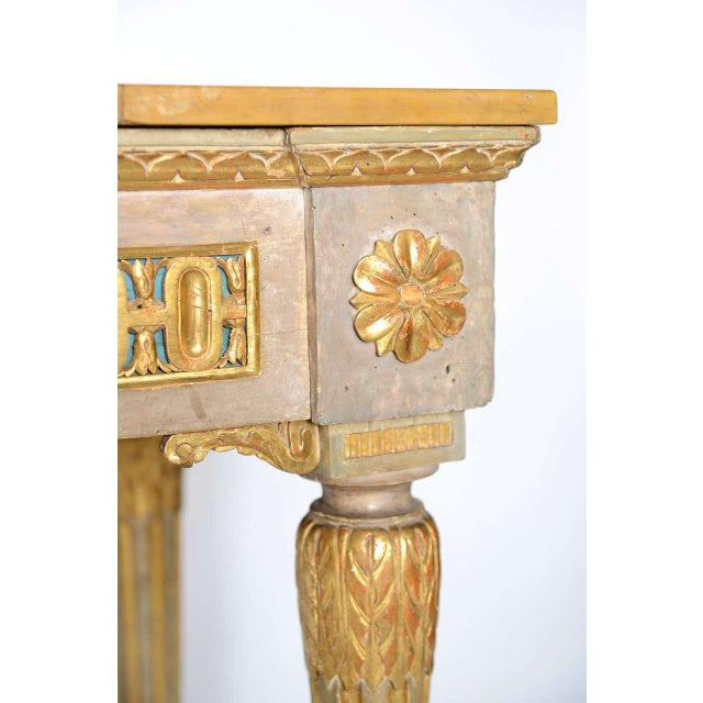 Fine Italian Neoclassic Painted and Parcel-Gilt Console, Roman Late 18th Century For Sale - Image 9 of 11