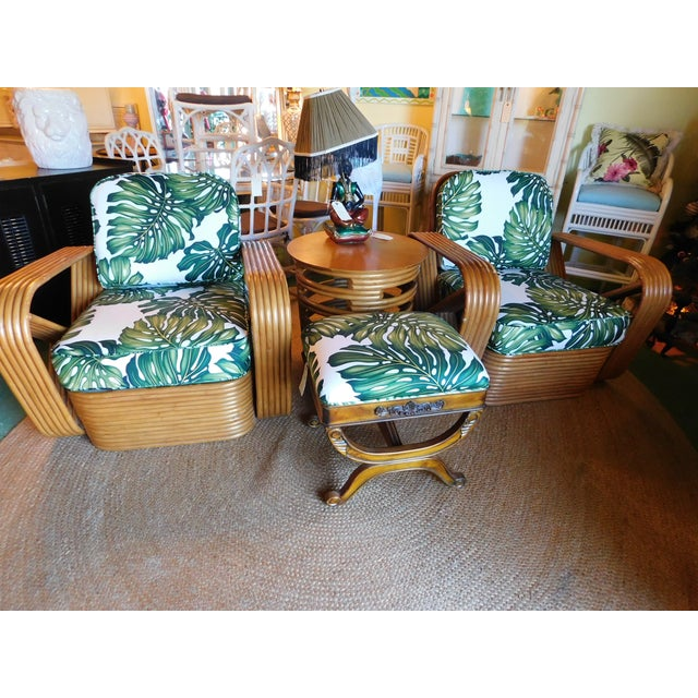 Thirteen Strand Paul Frankl Rattan Chairs & Side Table - Set of 3 For Sale - Image 10 of 11