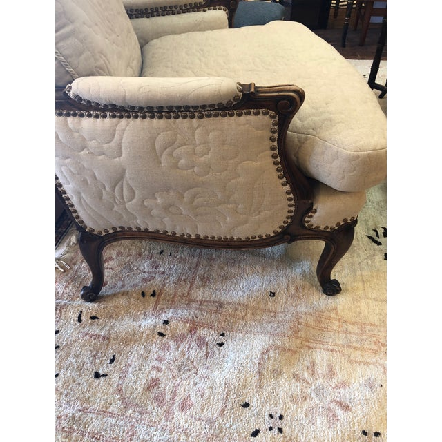 1970s Carved Walnut French Style Club Chair With Quilted Upholstery For Sale - Image 5 of 13
