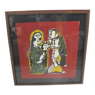 Sadao Watanabe Japanese Signed Framed Katazome Adoration of the Magi For Sale
