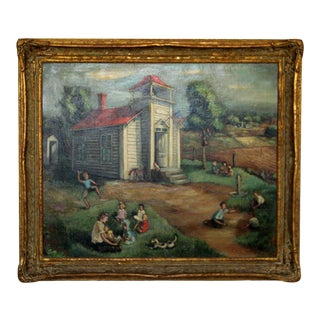 """""""School House"""" by Emil Weddige Framed Signed Oil Painting For Sale"""