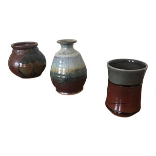 Glazed Ceramic Vessels - Set of 3 For Sale