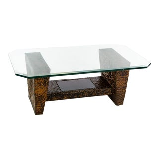 Mid-Century Brutalist Copper and Glass Top Coffee Table For Sale