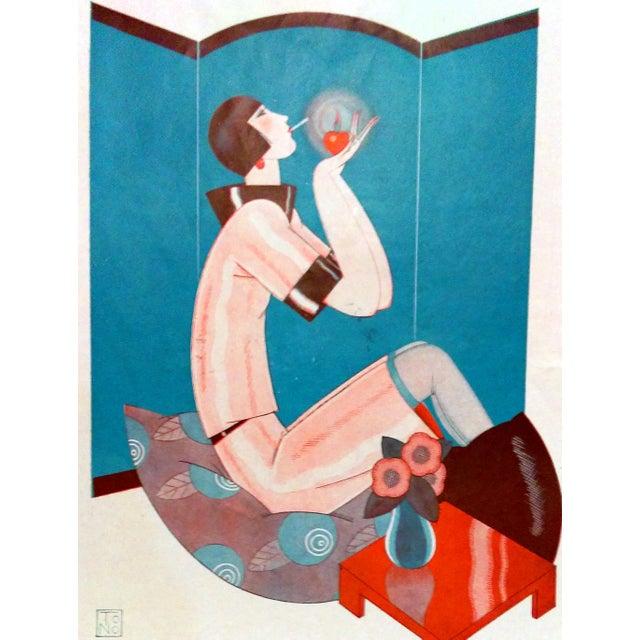 "1924 Fantasio ""Art Deco Smoker"" Print by To No - Image 4 of 5"