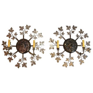 Flower Sconces in the Shape of the Sun - a Pair For Sale