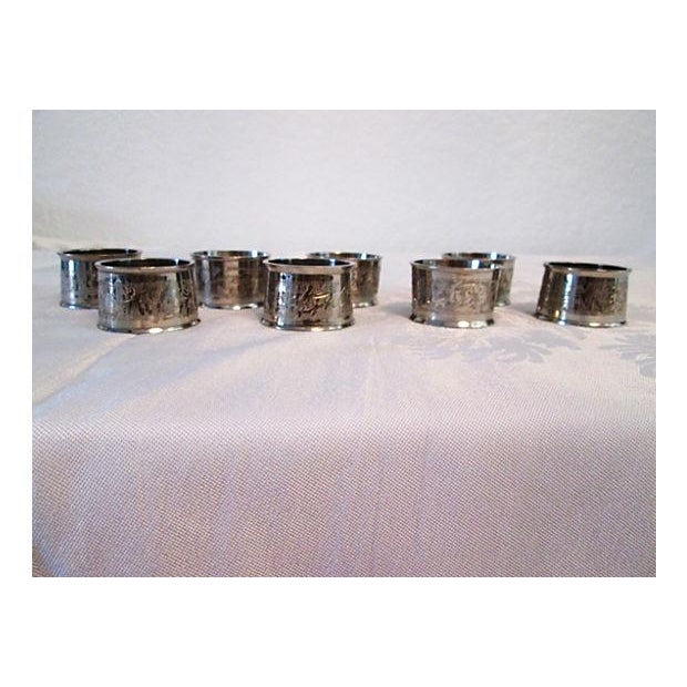 Silverplate Engraved Leaf Napkin Rings - Set of 8 - Image 2 of 5