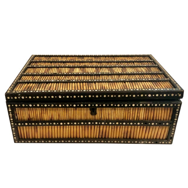 Brown 19th Century Anglo Indian Porcupine Quill Decorated Work Box For Sale - Image 8 of 8