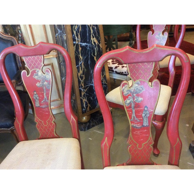Red Chinoiserie Dining Chair - Set of 4 For Sale - Image 10 of 13