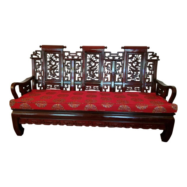 Vintage Mid Century Asian Carved Rosewood Settee For Sale