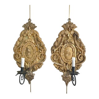 Pair of Large Continental Giltwood and Wrought Iron Sconces For Sale
