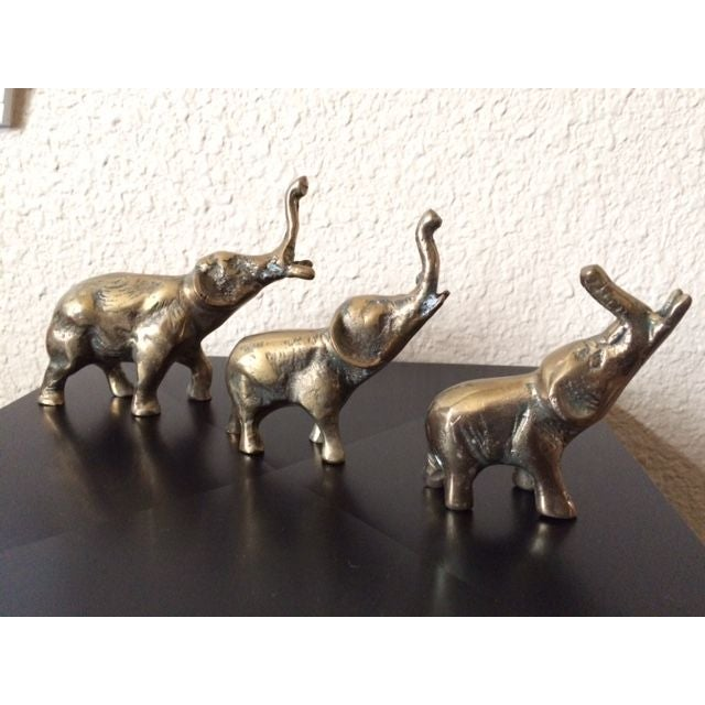 Vintage Brass Elephants - Set of 3 - Image 2 of 5