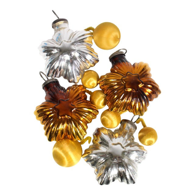1960's Mid-Century Silver & Gold Glass Stars & Cloth Orbs Assorted Christmas Ornaments - Set of 10 For Sale