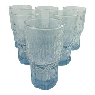 1980s Blue Iittala Aslak Style Glasses - Set of 6 For Sale