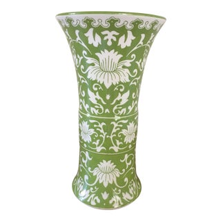 Lime Green Chinoiserie Floral Vase
