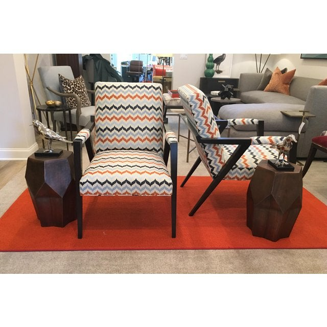 Pair of Kravet Tempest Chair upholstered in striking Kravet Andora Castille Contract Fabric which is elegant and crisp...