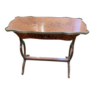 19th Century Traditional Marquetry Inlaid Wood Writing Table For Sale