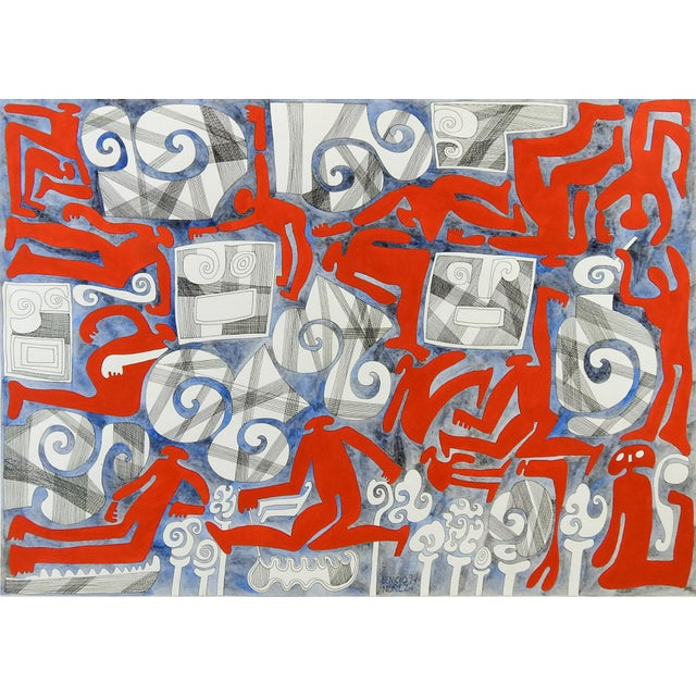 1980s Abstract Wind & Red Figures Painting by Benicio Nunez For Sale - Image 5 of 5