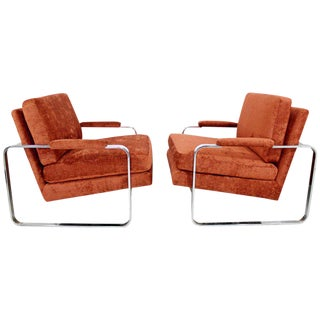Mid-Century Modern Pair of Milo Baughman Flat Bar Chrome Lounge Chairs