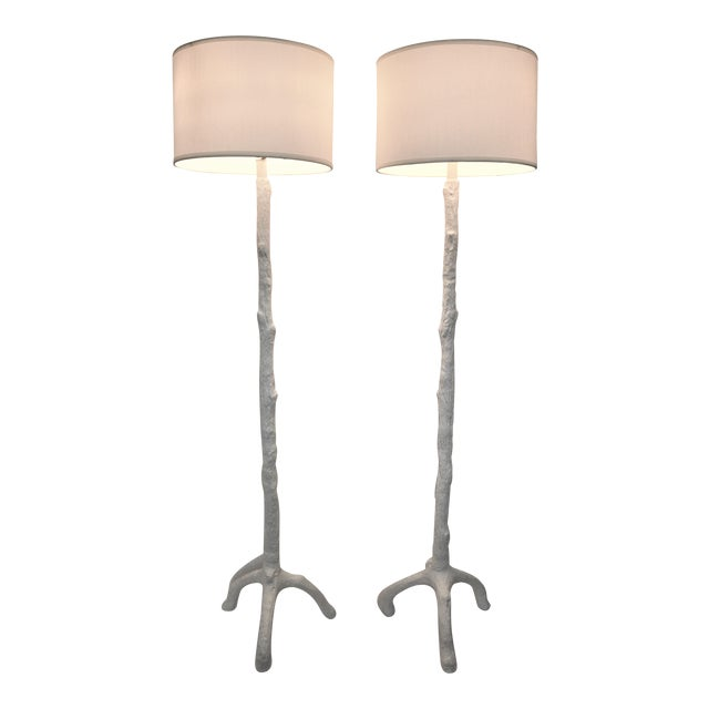 White Faux Bois Floor Lamps Inspired by Serge Roche - a Pair - Image 1 of 11