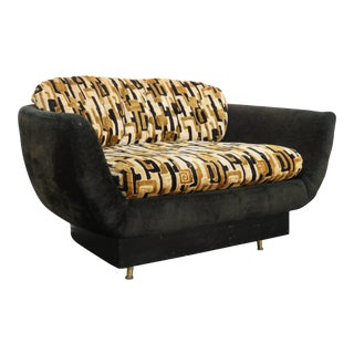 Mid Century Modern Large Barrel Side Accent Chair Small Loveseat For Sale