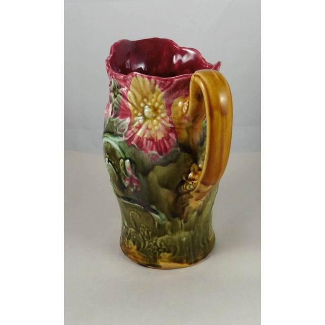Majolica 1900s Art Nouveau Majolica Onnaing Signed Poppies Pitcher For Sale - Image 4 of 6