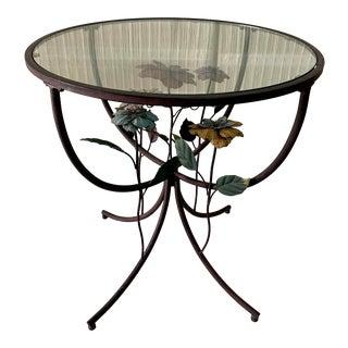 1970s Vintage Floral Metal & Glass Top Side Table For Sale