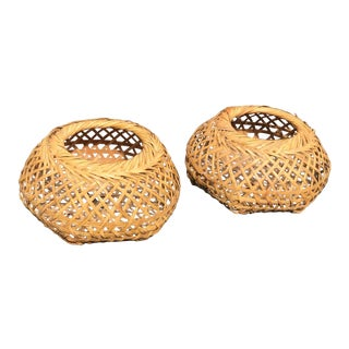 Mid Century Modern Boho Wicker Baskets - a Pair For Sale