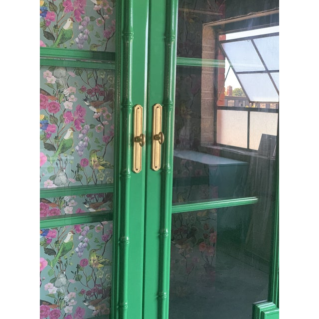 1960s 1960's Vintage Green Lacquered China Cabinet For Sale - Image 5 of 11