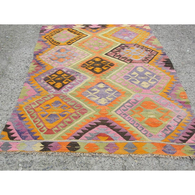 Vintage Turkish Kilim Rug - 5′5″ × 7′8″ For Sale - Image 9 of 11