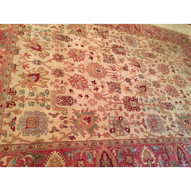 Designer Wool Rug Cream & Red - 8' x 11' - Image 4 of 10