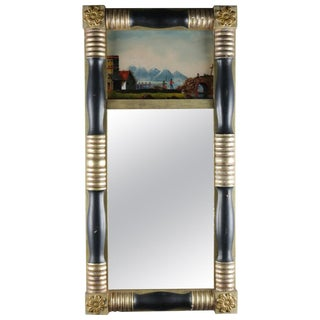 Antique American Empire Eglomise Trumeau Gilt and Ebonized Wall Mirror For Sale