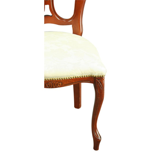 Wood Italian Ivory Damask Dining Chair For Sale - Image 7 of 8