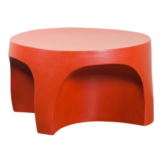 Curve Table - Coral Lacquer by Robert Kuo, Hand Repoussé, Limited Edition For Sale