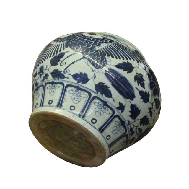 Chinese Blue White Porcelain Graphic Fat Body Vase Jar For Sale - Image 9 of 10
