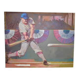 Monumental Baseball Painting by Noted Artist / Illustrator o.j. Watson C.1989 For Sale