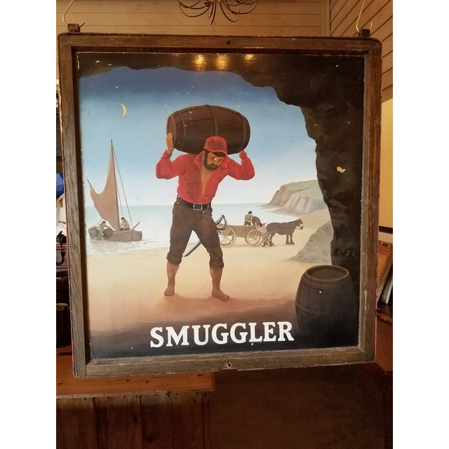 """Original UK Pub Sign - """"Smuggler"""" - Hand Painted - Double Sided - Metal Sign with Wood Frame For Sale - Image 13 of 13"""