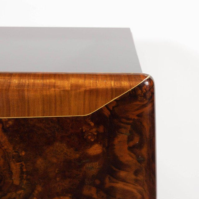 Brown Pair of Mid-Century Italian Nightstands/End Tables in Exotic Bookmatched Wood For Sale - Image 8 of 12
