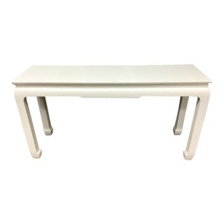 Asian Style Baker Lacquered Grasscloth Console Table For Sale
