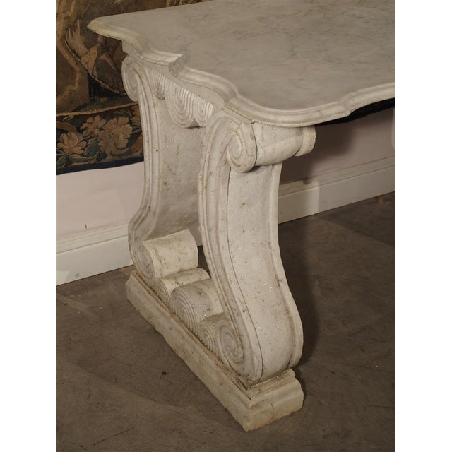 White Antique Carved White Marble Console Table from France, 19th Century For Sale - Image 8 of 13
