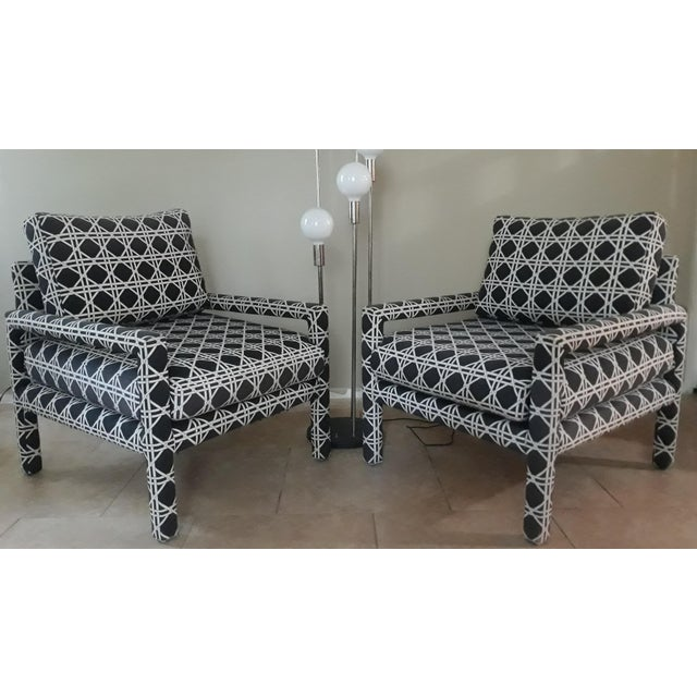 Wood Mid Century Parsons Op Art Crossed Rope Design Black & White Upholstered Club Chairs - a Pair For Sale - Image 7 of 12