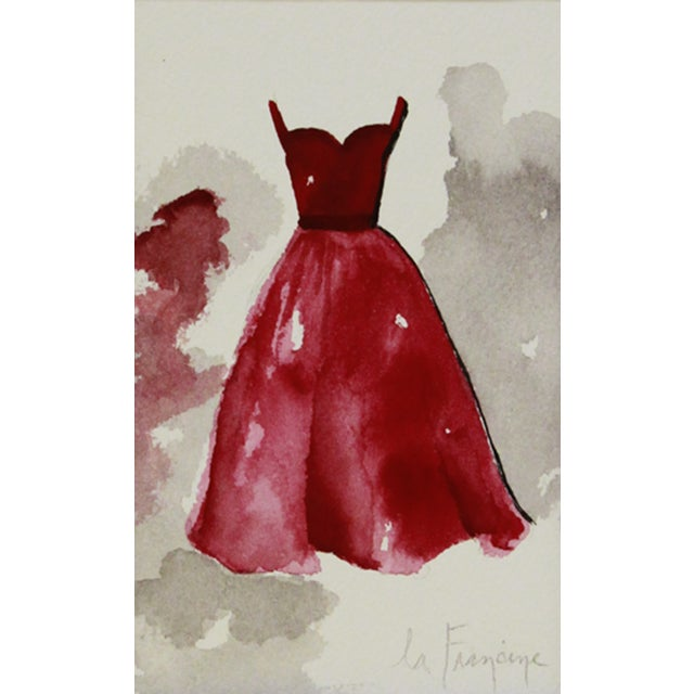 Red Gown Watercolor Painting For Sale