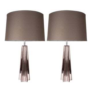 Modernist Smoked Amethyst Handblown Murano Mercury Glass Table Lamps For Sale