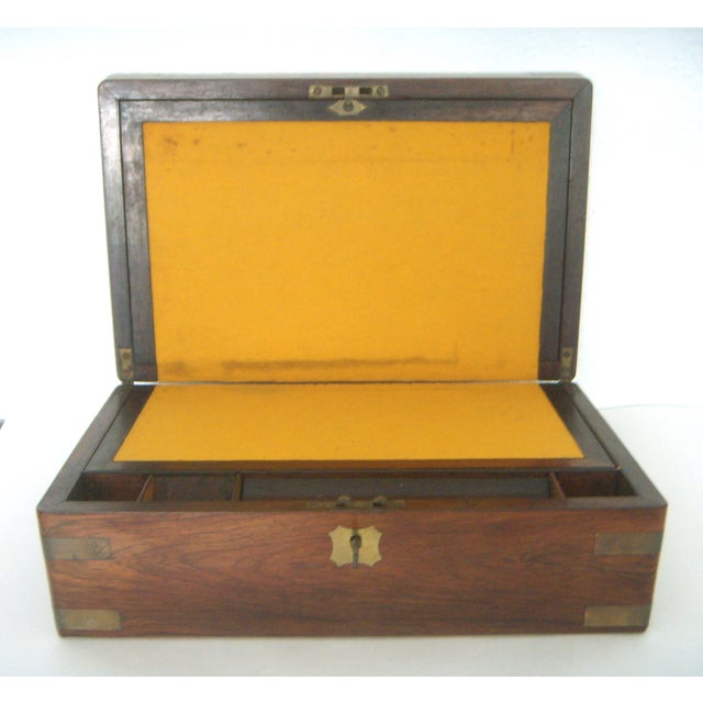 Antique English Walnut Slope Top Deed/ Writing Box For Sale - Image 5 of 10