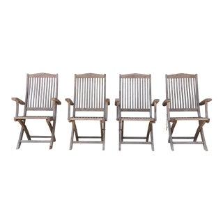 Vintage Set of Teak Outdoor Patio Chairs