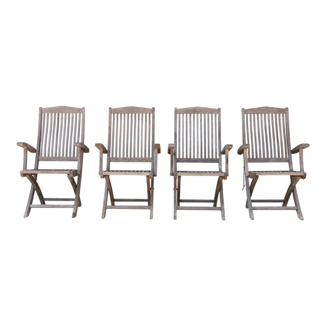 Vintage Set of Teak Outdoor Patio Chairs For Sale
