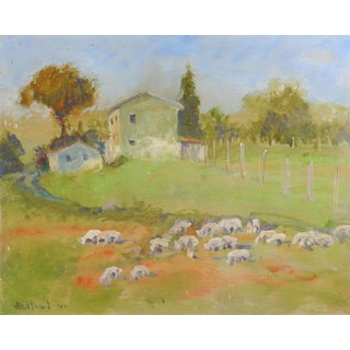 Dorothy Redland Pastoral Painting With Sheep For Sale