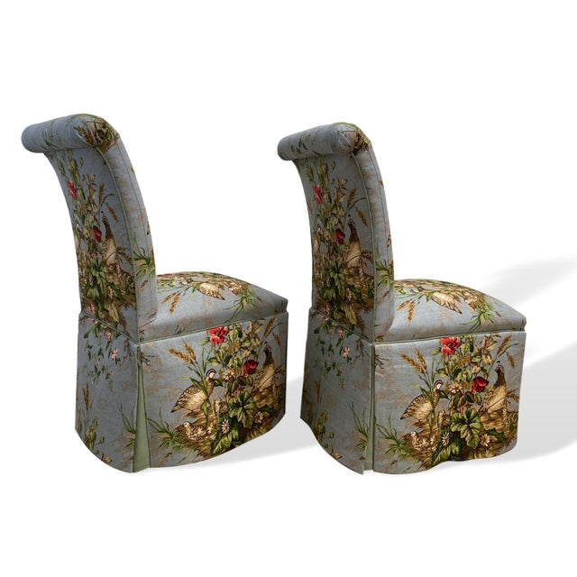 "2020s Scalamandré Fabric ""Edwin's Covey"" Parsons Chairs- A Pair For Sale - Image 5 of 11"