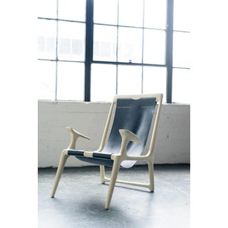 Contemporary White Ash and Black Leather Sling Chair Preview