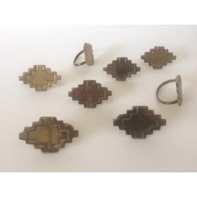 Vintage Brass Modernist Geometric Napkin Rings - Set of 8 - Image 4 of 7